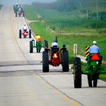 Tractor ride on a road